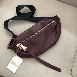 NWT Aimee Kestenberg Milan Belt Bag Mahogany/Gold